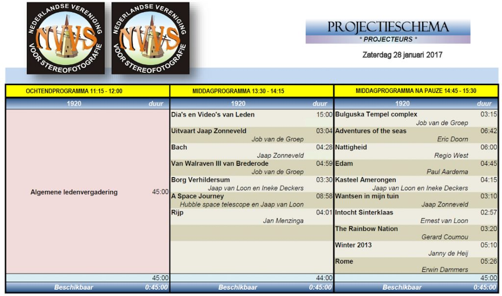 Programma 28 januari 2017