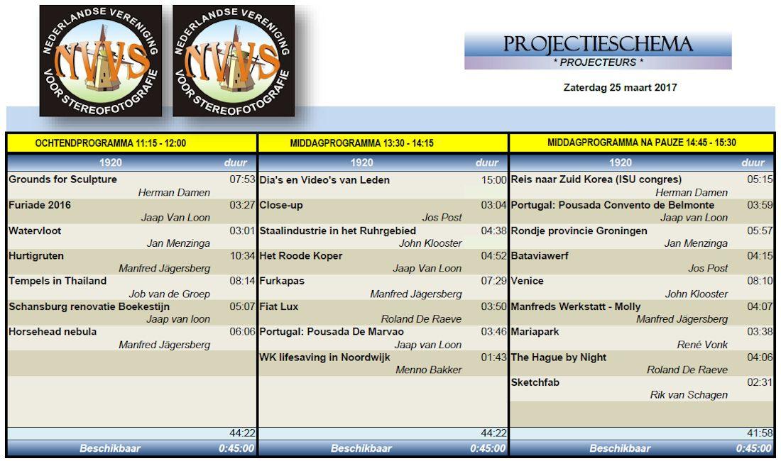 Programma 25 maart 2017
